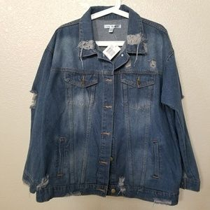 Say What? Distressed Denim Jacket Size Large